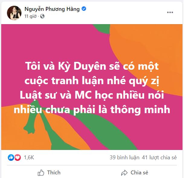 Bà Phương Hằng tuyên bố: Tôi và Kỳ Duyên sẽ có một cuộc tranh luận-1