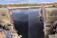 'Nín thở' xem cảnh xe tải băng qua cây cầu gỗ tí hon, rộng chưa tới 2m