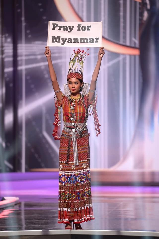 Nhan sắc của Hoa hậu Myanmar gây chú ý vì cầu cứu trên sân khấu Hoa hậu Hoàn vũ Thế giới?-2