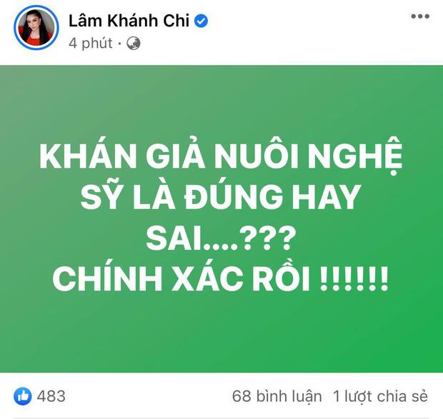 Lâm Khánh Chi nhập cuộc khẩu chiến khán giả nuôi nghệ sĩ của bà Phương Hằng, nói gì mà trong 5 phút sửa tới 4 lần?-1