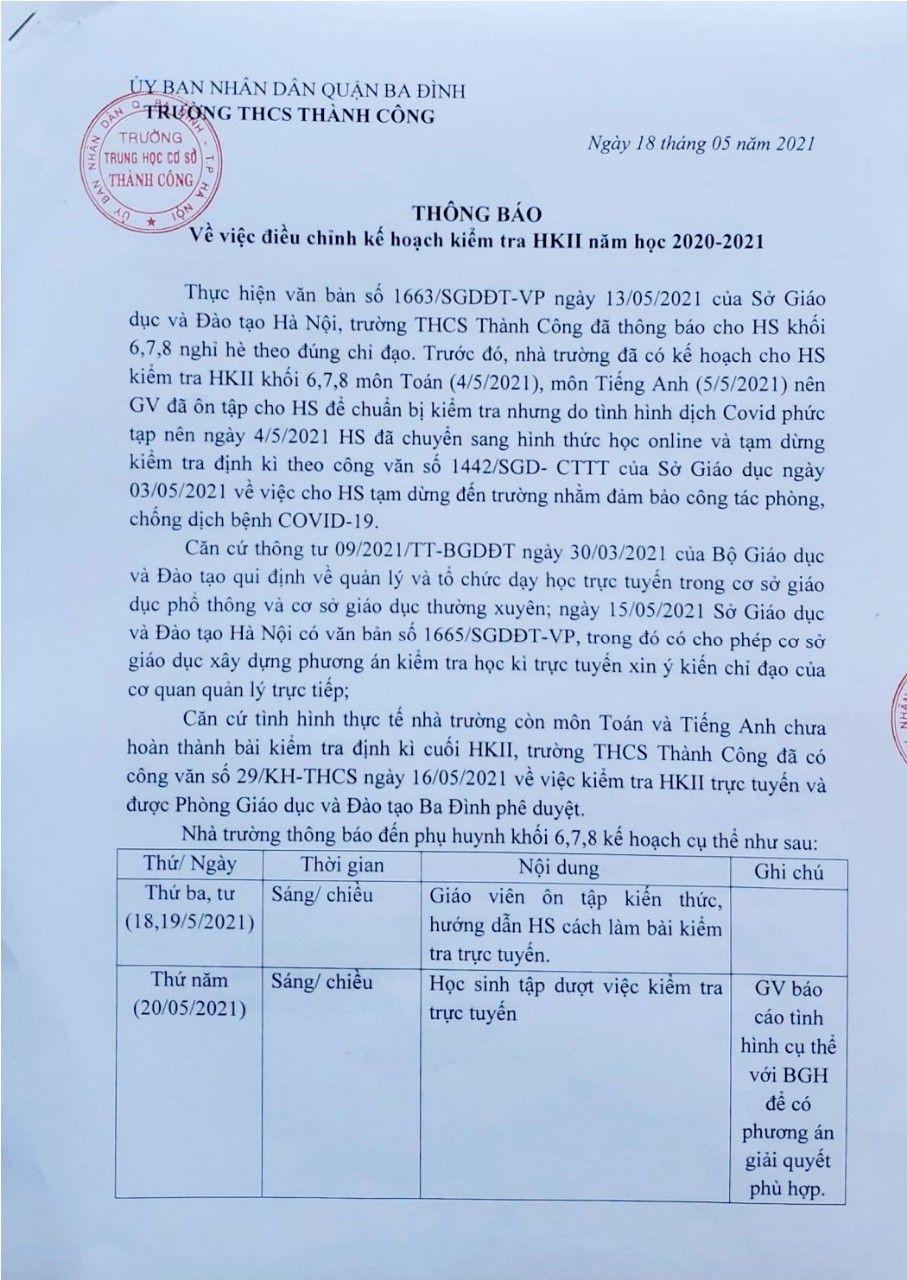 Mới: Trường công lập đầu tiên ở Hà Nội kiểm tra học kỳ thông qua hình thức trực tuyến, chi tiết cụ thể như sau-1