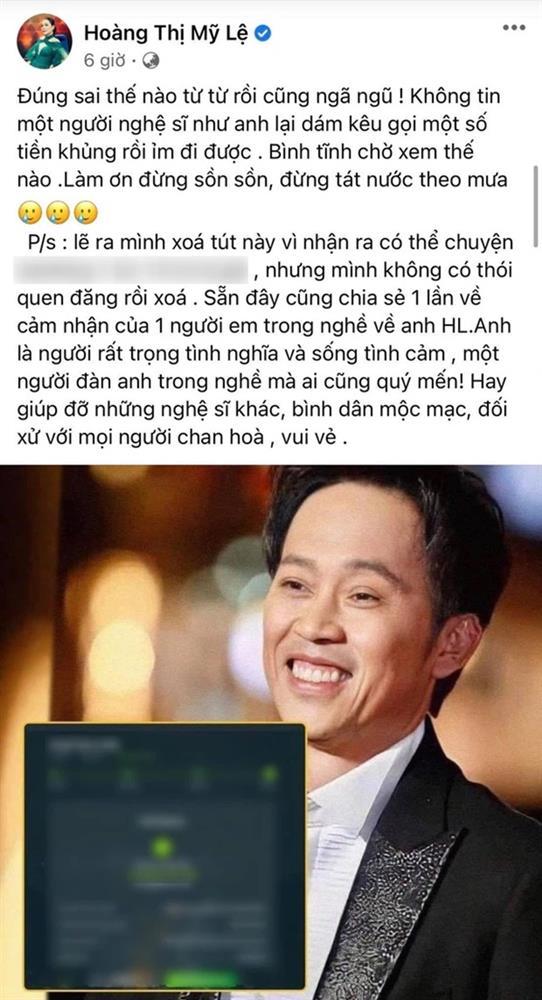 Làm rõ hình ảnh sao kê giao dịch từ thiện 14 tỷ đồng của NS Hoài Linh, ca sĩ Mỹ Lệ từng bênh vực nay cũng phải xóa dấu vết-2