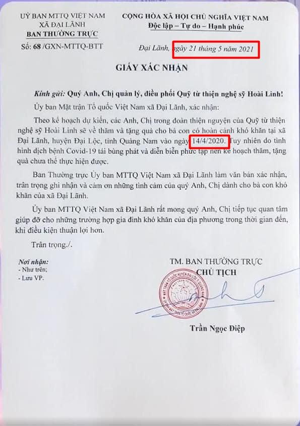 Phát hiện chi tiết sai lệch trong văn bản chứng nhận làm từ thiện miền Trung mà phía NS Hoài Linh công bố?-1