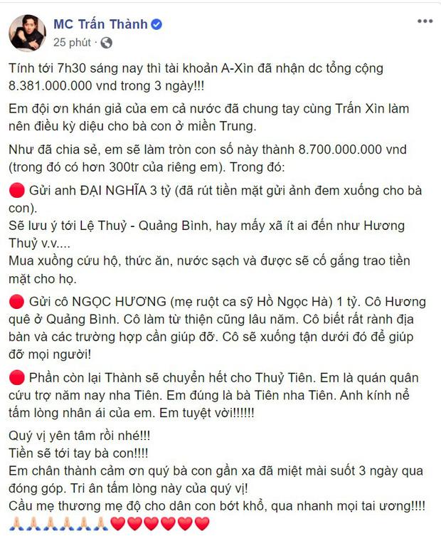Đại diện Thuỷ Tiên nói gì về nghi vấn số tiền 4,3 tỷ đồng Trấn Thành chuyển khoản?-1