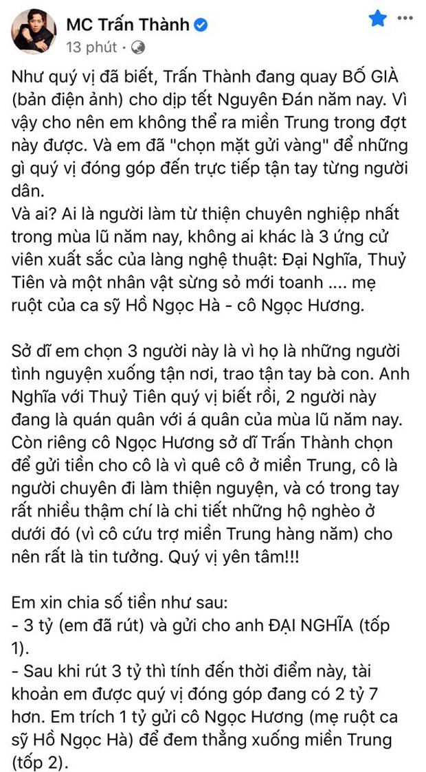 Đại diện Thuỷ Tiên nói gì về nghi vấn số tiền 4,3 tỷ đồng Trấn Thành chuyển khoản?-2