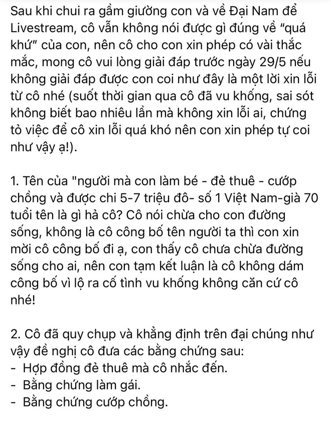"""Bị đại gia Phương Hằng bóc"""" loạt thông tin gây sốc, Vy Oanh lên tiếng đáp trả và yêu cầu bằng chứng cụ thể trước 29/5-3"""