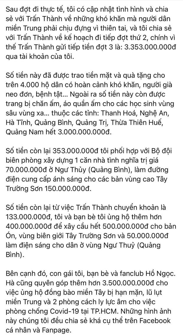 Mẹ Hà Hồ cuối cùng đã nói rõ về chuyện Trấn Thành chuyển 6,45 tỷ tiền cứu trợ miền Trung kèm hình ảnh, thông tin minh bạch-2