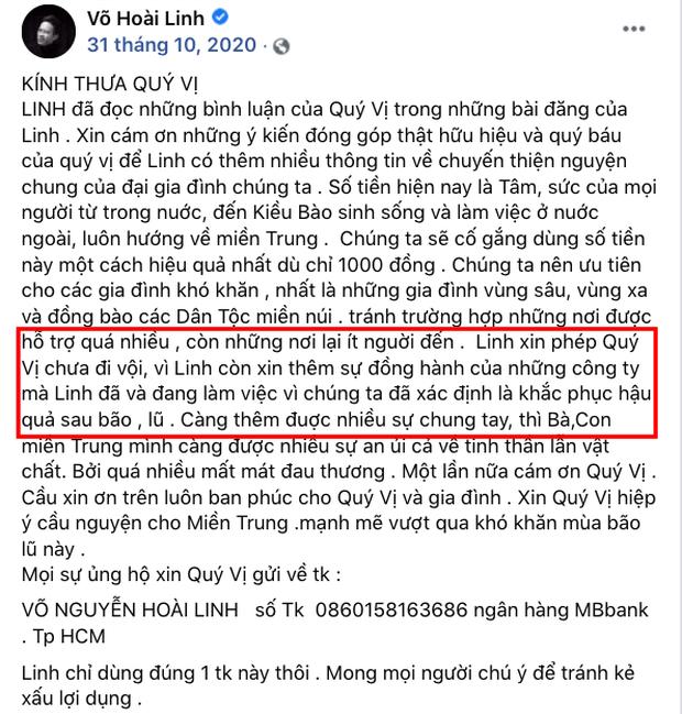 Trong thời gian kêu gọi, NS Hoài Linh từng thông báo chưa thể đi cứu trợ miền Trung ngay vì một lý do-3
