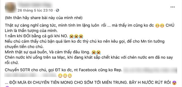 Rầm rộ 1 nhà hảo tâm đăng đàn bức xúc vì chuyển 50 triệu cứu trợ miền Trung cho NS Hoài Linh nhưng không liên lạc được?-1