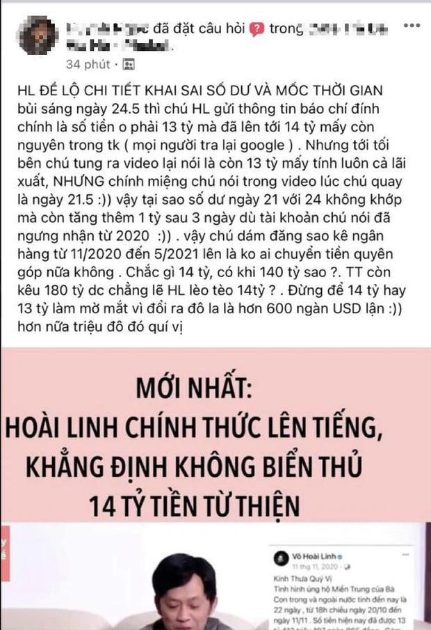 NS Hoài Linh bị netizen tố khai chênh lệch 14,67 tỷ thành 13,7 tỷ tiền từ thiện, thực hư ra sao?-1