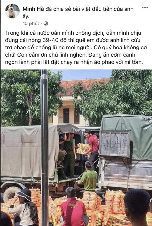 Rầm rộ ảnh đoàn NS Hoài Linh cứu trợ áo phao và mì tôm khi người dân đang chống Covid-19 giữa hè, thực hư ra sao?-1