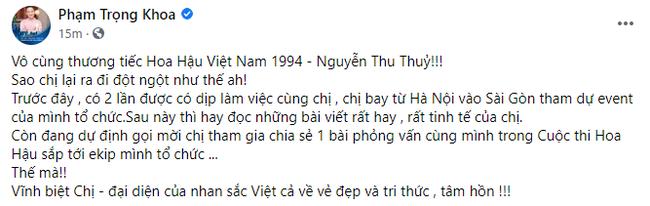 """Dàn Hoa hậu, sao Việt tiếc thương trước sự ra đi đột ngột của Hoa hậu Nguyễn Thu Thủy: Chị ơi, từ giờ chỉ còn bình yên thôi""""-5"""