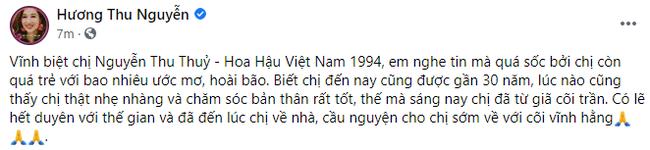 """Dàn Hoa hậu, sao Việt tiếc thương trước sự ra đi đột ngột của Hoa hậu Nguyễn Thu Thủy: Chị ơi, từ giờ chỉ còn bình yên thôi""""-6"""