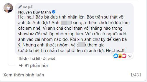 Bị bà Phương Hằng tuyên bố 'lột trần', Duy Mạnh phản ứng gay gắt, dùng từ ngữ thô tục gây choáng-4