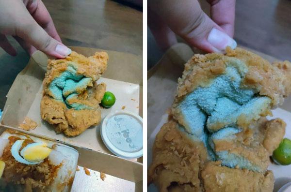 Đặt mua gà rán về ăn, người phụ nữ giật mình phát hiện thứ kỳ dị màu xanh dai nhách trong lớp bột chiên giòn và danh tính gây choáng của nó-1