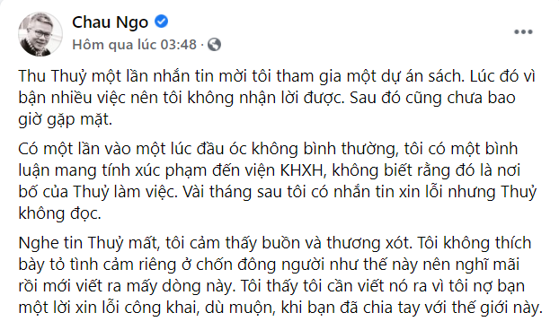 Giáo sư Ngô Bảo Châu bất ngờ gửi lời xin lỗi đến Hoa hậu Nguyễn Thu Thủy khi cô vừa qua đời vì lý do này-1
