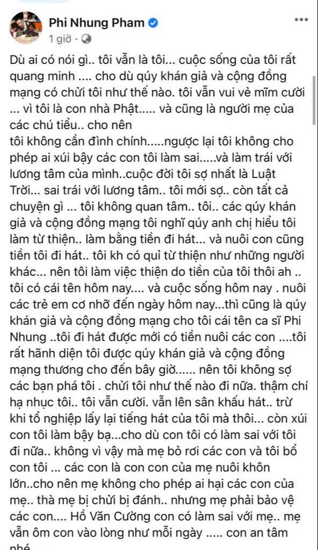 Phi Nhung khẳng định bị oan giữa loạt lùm xùm, nhắn nhủ Hồ Văn Cường: Đừng sợ mẹ giận hay ghét, mẹ vẫn ôm con vào lòng như lúc đầu gặp-2