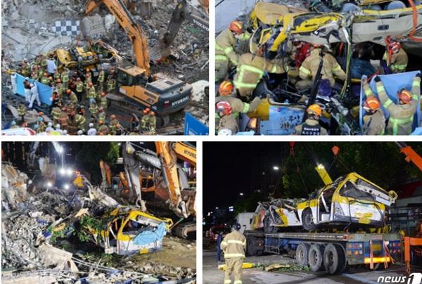 Hàn Quốc: Thảm họa tòa nhà 5 tầng đổ sập đè nát xe buýt khiến 9 người thiệt mạng, cảnh hiện trường rùng mình đến ám ảnh-5