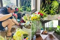 Hồng Đăng tự tay chăm chút cho khu vườn nhỏ trong biệt thự hoàng tráng2 mặt tiền tọa lạc ngay trung tâm Tp.Hà Nội