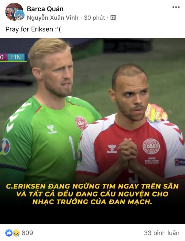 Dân mạng Việt đi từ bàng hoàng đến vỡ oà khi chứng kiến cầu thủ số 1 Đan Mạch đột quỵ ngay trên sân đấu Euro-13