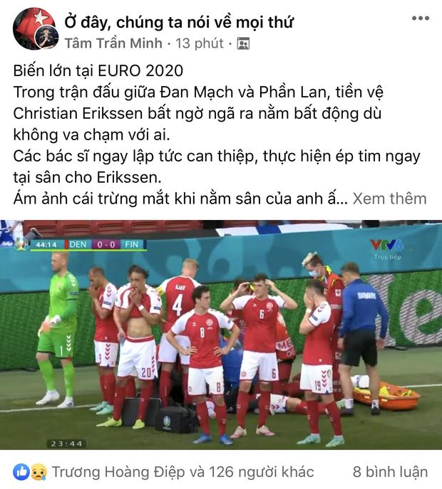 Dân mạng Việt đi từ bàng hoàng đến vỡ oà khi chứng kiến cầu thủ số 1 Đan Mạch đột quỵ ngay trên sân đấu Euro-14
