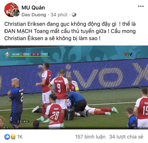 Dân mạng Việt đi từ bàng hoàng đến vỡ oà khi chứng kiến cầu thủ số 1 Đan Mạch đột quỵ ngay trên sân đấu Euro-15
