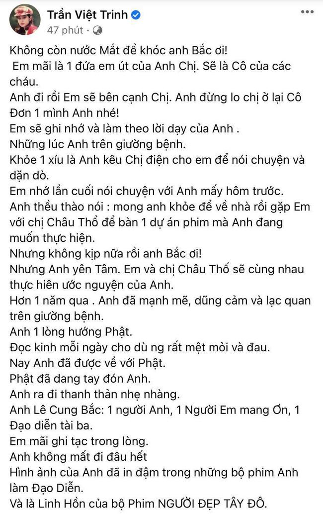 Đạo diễn Lê Cung Bắc của Người đẹp Tây Đô qua đời, Việt Trinh và dàn sao Việt bàng hoàng thương tiếc-2