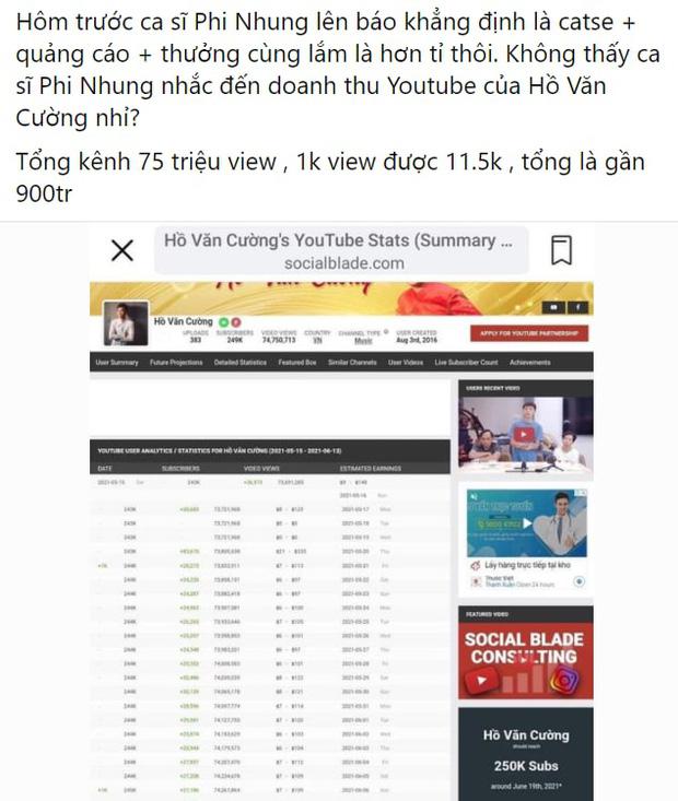 Phi Nhung nói cát-xê Hồ Văn Cường chỉ hơn 1 tỷ đồng, netizen làm toán chất vấn: Doanh thu khủng từ YouTube thì sao?-1