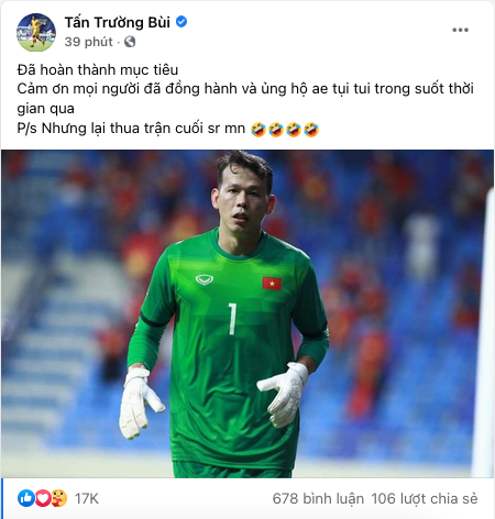Thủ môn Bùi Tấn Trường xin lỗi người hâm mộ vì để thua UAE-1