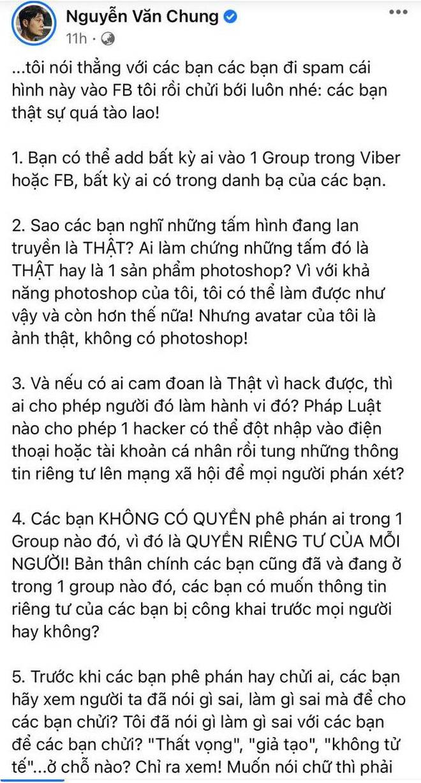 Bị tố tham gia nhóm chat Nghệ sĩ Việt, Nguyễn Văn Chung liệt kê 7 điều để phản pháo và còn mắng netizen gay gắt?-1