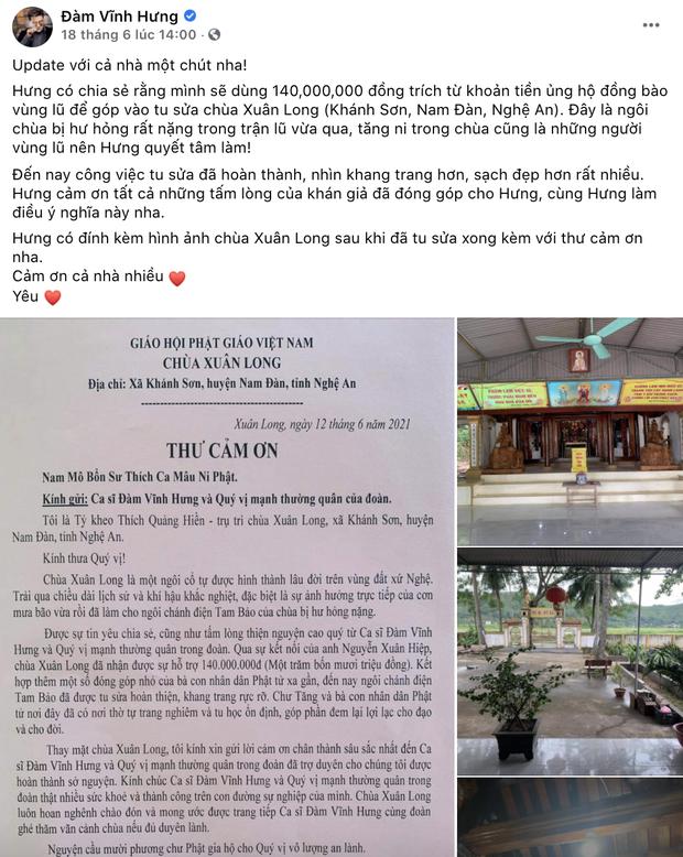 Đàm Vĩnh Hưng chính thức lên tiếng khi bị chỉ trích gay gắt vì dùng tiền cứu trợ miền Trung để đi sửa chùa ở Nghệ An-1
