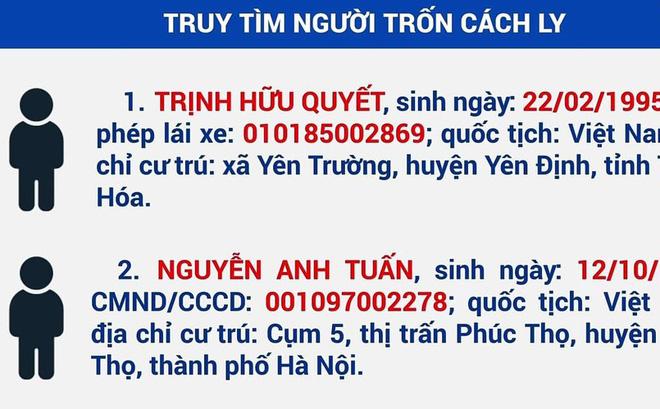 Tây Ninh thông báo khẩn tìm người trốn cách ly tập trung-1