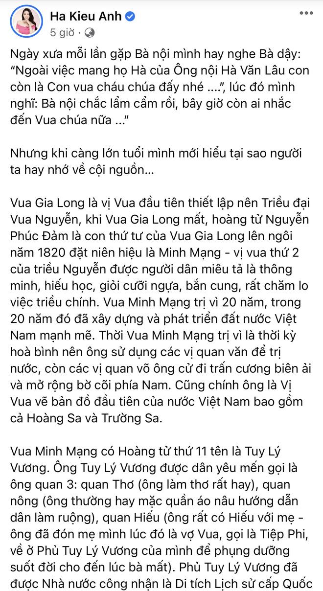 Hoa hậu Hà Kiều Anh hé lộ gia thế khủng: Là công chúa đời thứ 7, cháu vua chúa, Hà Tăng và dàn sao thốt lên điều này-1