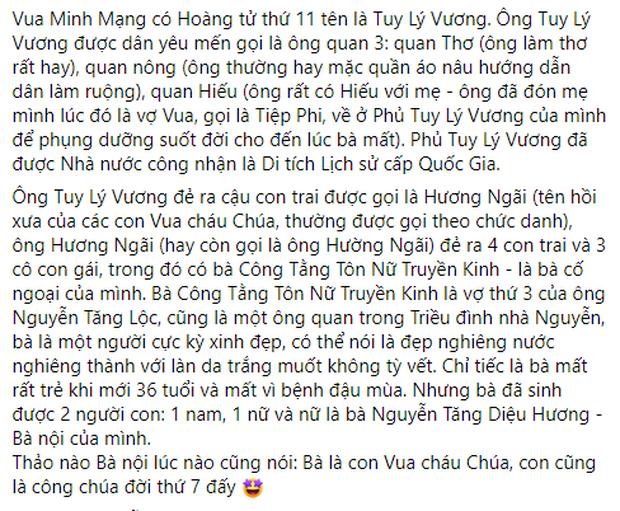 Hoa hậu Hà Kiều Anh khẳng định mình là Công chúa đời thứ 7 của triều Nguyễn, hậu duệ của Vua Minh Mạng lên tiếng phủ định!-2
