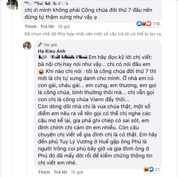 Hoa hậu Hà Kiều Anh đáp trả 1 tràng khi bị netizen thắc mắc về drama tự nhận là công chúa đời thứ 7 triều Nguyễn-1
