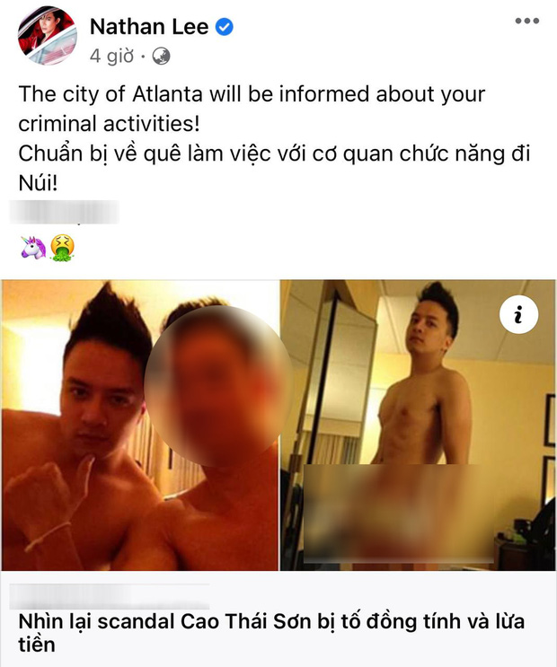 Nathan Lee chia sẻ ảnh nhạy cảm của Cao Thái Sơn, hẹn nam ca sĩ làm việc với cơ quan chức năng vì hành động phạm pháp?-1