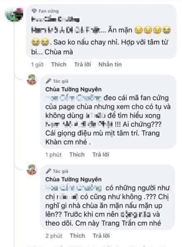 Phẫn nộ Trang Trần dùng fanpage của chùa để đáp trả tay đôi với netizen, lời lẽ kém duyên gây tranh cãi nảy lửa-1