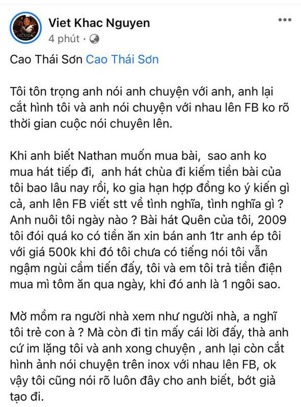 Khắc Việt tố Cao Thái Sơn ép giá mua bài 1 triệu xuống 500k, hát chùa, cắt hình chat đăng FB và chốt bớt giả tạo đi-4