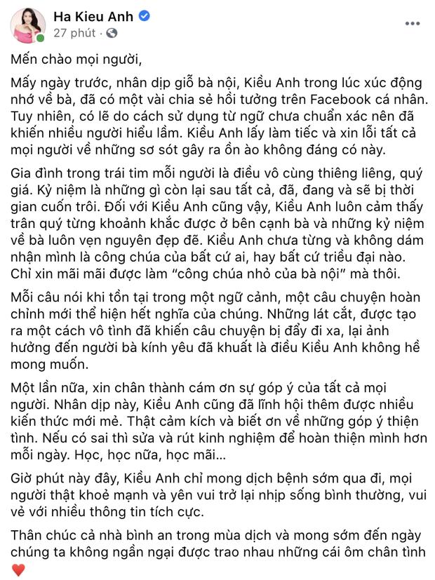 Hà Kiều Anh chính thức lên tiếng và xin lỗi khán giả về ồn ào Công chúa triều Nguyễn-2