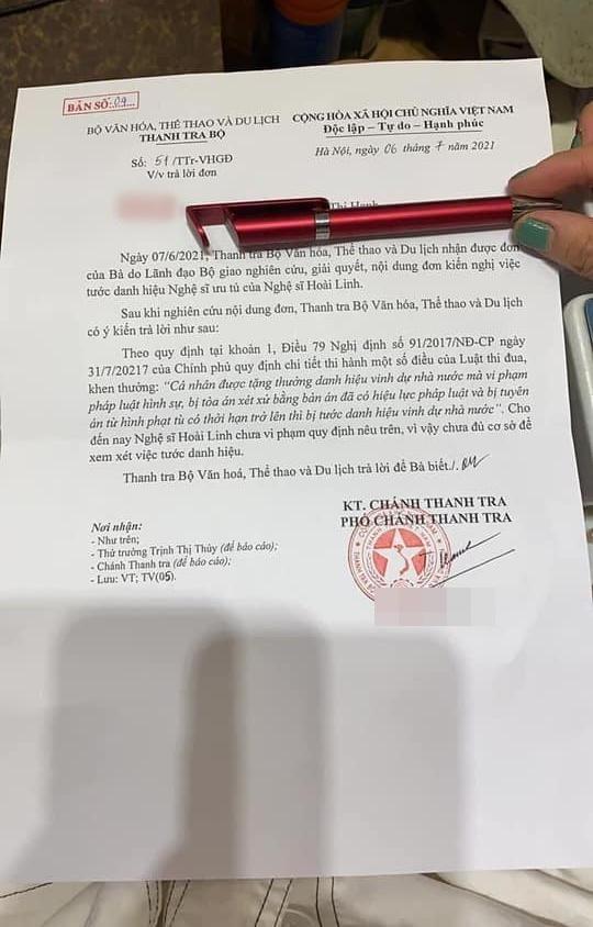 Thanh tra Bộ Văn hóa đưa ra kết luận cuối cùng về đề nghị tước danh hiệu NSƯT của Hoài Linh-1