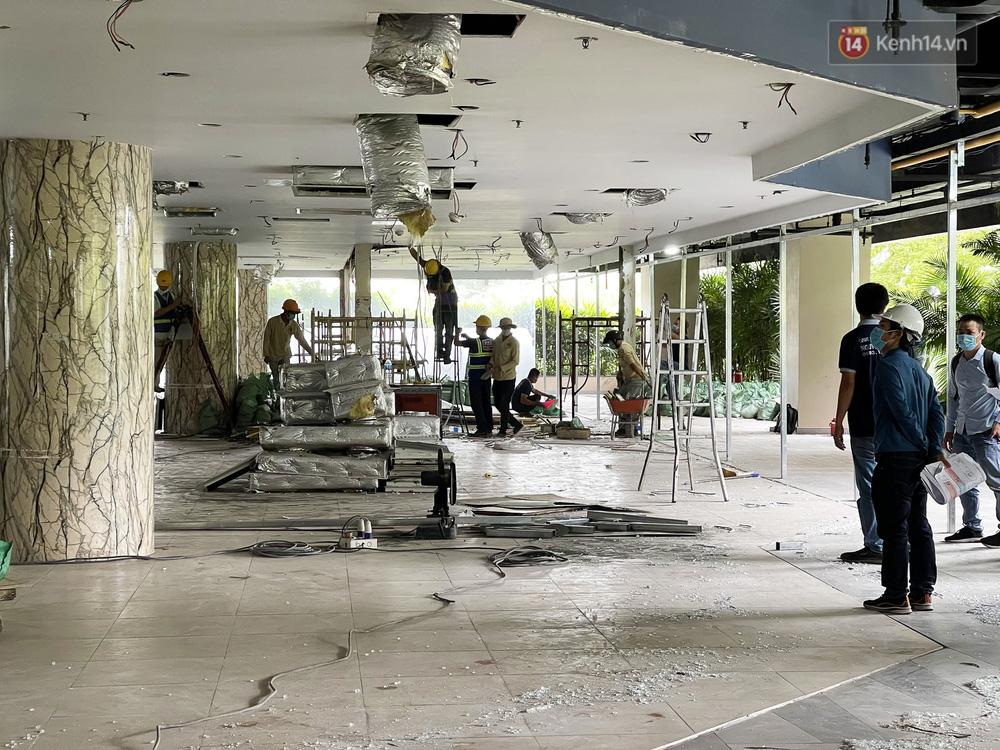 Toàn cảnh bên trong Thuận Kiều Plaza đang thi công chuyển đổi thành bệnh viện dã chiến 1.000 giường bệnh-3