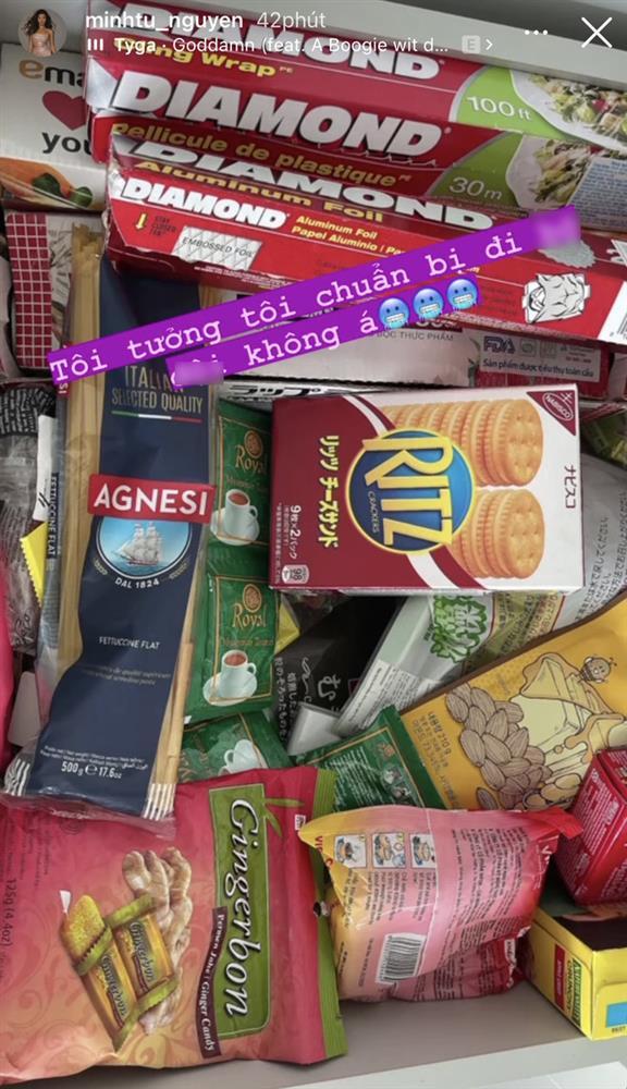 Minh Tú khoe sự giàu sang giữa mùa dịch: Tủ lạnh, kệ đồ ăn đầy ắp như một chiếc siêu thị mini thế này?-8