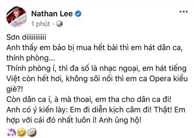 Cao Thái Sơn vừa tuyên bố hát nhạc dân ca, thính phòng; Nathan Lee lập tức phản dame cực gắt, còn khuyên nên diễn kịch câm-1