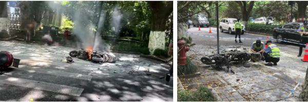 Đang chạy bon bon trên đường, xe điện đột ngột bốc cháy khiến 2 bố con bị thiêu rụi quần áo, người mẹ đi ngay cạnh chết lặng trước hiện trường thảm khốc-2