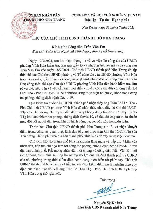 Chủ tịch TP Nha Trang gửi thư xin lỗi nam công nhân bị xử phạt khi đi mua bánh mì-1
