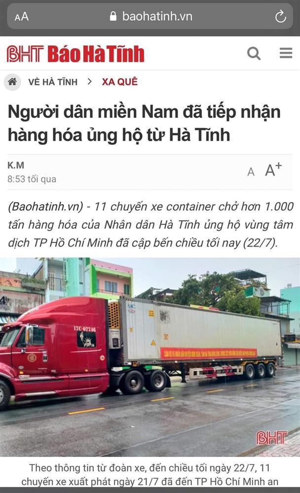 Ca sĩ Thủy Tiên lại bị mắng nhận vơ 1.000 tấn thực phẩm người Hà Tĩnh gửi tặng Sài Gòn vì dòng status ỡm ờ-5