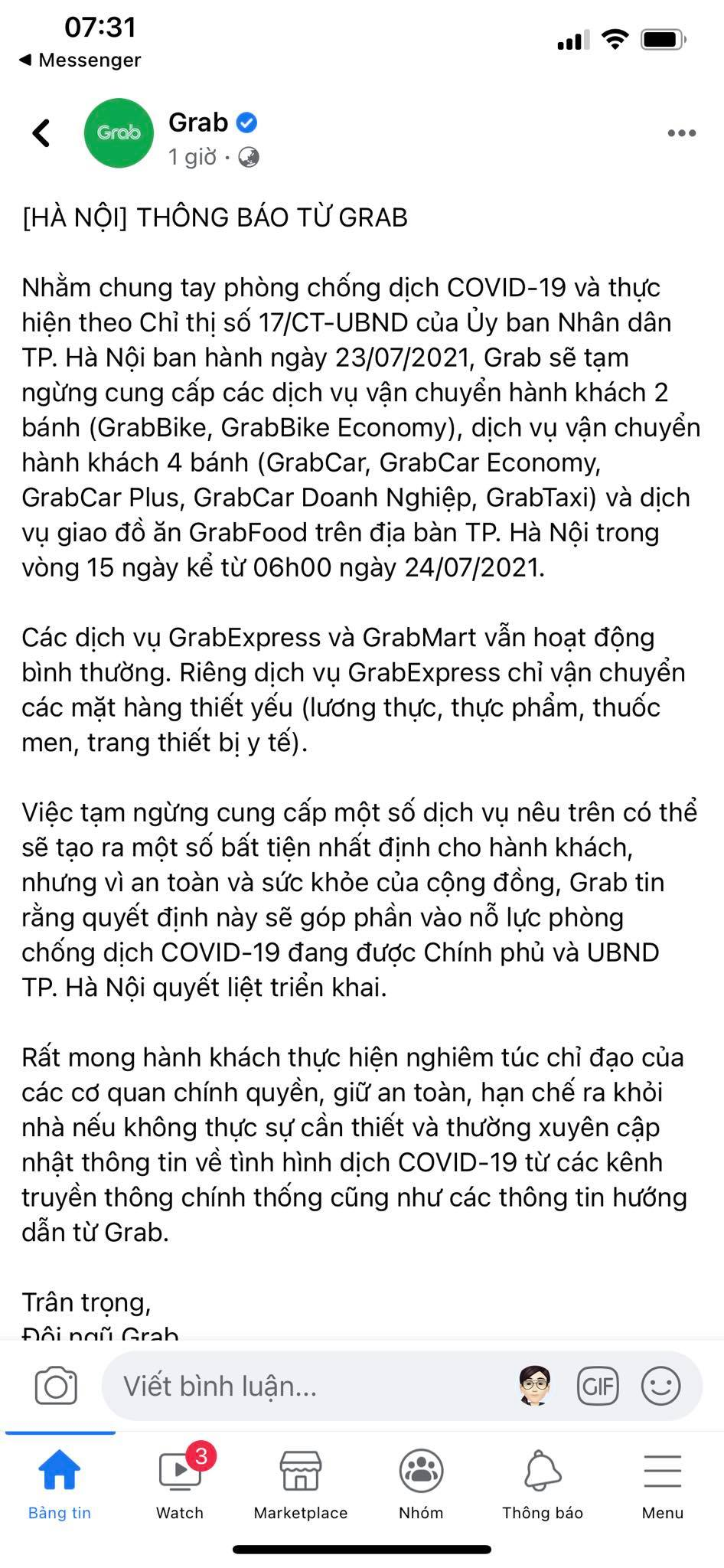 Grab, Now, Baemin thông báo tạm dừng dịch vụ giao đồ ăn tại Hà Nội từ 6h ngày 24/7-1