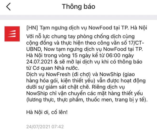 Grab, Now, Baemin thông báo tạm dừng dịch vụ giao đồ ăn tại Hà Nội từ 6h ngày 24/7-2