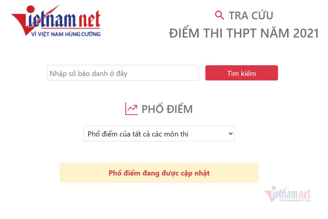 Tra cứu điểm thi tốt nghiệp THPT năm 2021 trên VietNamNet-1