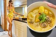Siêu mẫu Hà Anhdiện cảbikini đứng bếp, món cà ri gà nấu lần đầu đã thành công